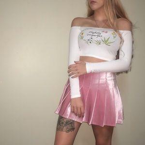 Baby Pink Velvet Pleated Tennis Mini Skort Skirt